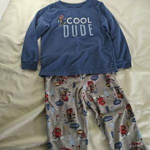 Carters Fleece Cool Dude Skiing Pajamas set